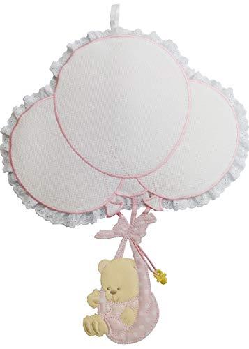 Fiocco nascita palloncini da ricamare con orso in fasce rosa lavorato del tutto a mano