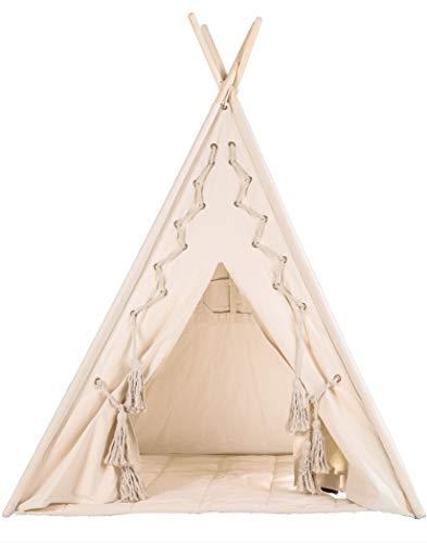 """pelzitoys Tipi Zelt für Kinder-mit Bodenmatte-Design """"Nature"""" Prince-Spielzelt für Kinderzimmer mit Kordel Schnürung-u. draußen – 110 x 110 x 160 cm"""