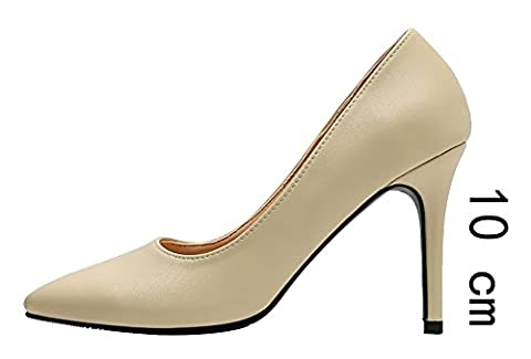 Verocara Women's Classic Simple Sexy Stiletto Pointed Toe Pumps Shoes Nude-10cm 7 UK