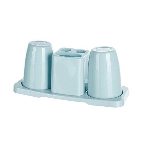 Lai-LYQ Doppel-Zahnputzbecher, Zahnpasta-Halter, mit Ständer, Badezimmer-Organizer, Rosa, Plastik, blau, Blau