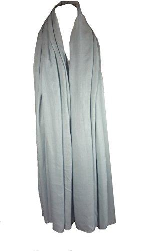 Einfarbig Sarong, Coverup, Schal, übergröße 110cm x 200cm Hell Silber