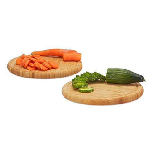 Relaxdays Frühstücksbrettchen 2er Set, Bambus, rund, 25 cm, Küchenbrett, pflegeleicht, natürlich, messerschonend, natur