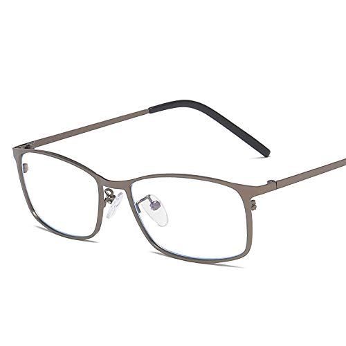 Easy Go Shopping Mode Anti Blue Computer Schutzbrille Männer Business Square Frame Metall Plain Gläser Sonnenbrillen und Flacher Spiegel (Color : Dark Sliver, Size : Kostenlos)