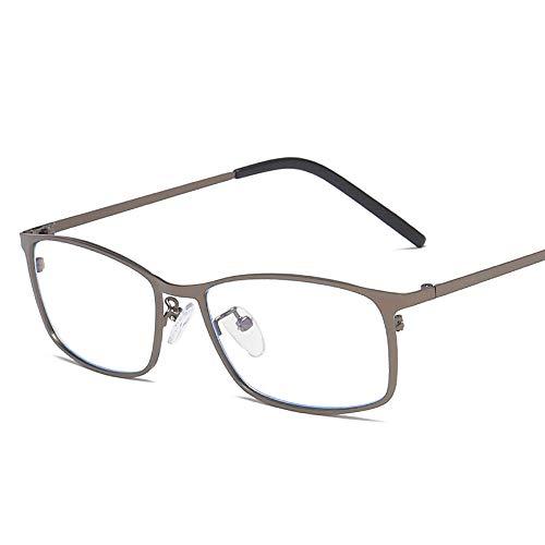 Gläser Männer Business Square Frame Metall Plain Brille Mode Anti Blue Computer Schutzbrille Brillen (Color : Dark Sliver, Size : Kostenlos)