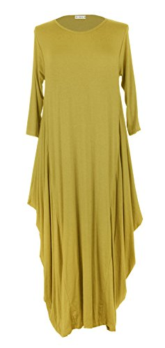 texture-online-ladies-women-italian-lagenlook-quirky-3-4-sleeve-plain-viscose-jersey-tulip-long-midi