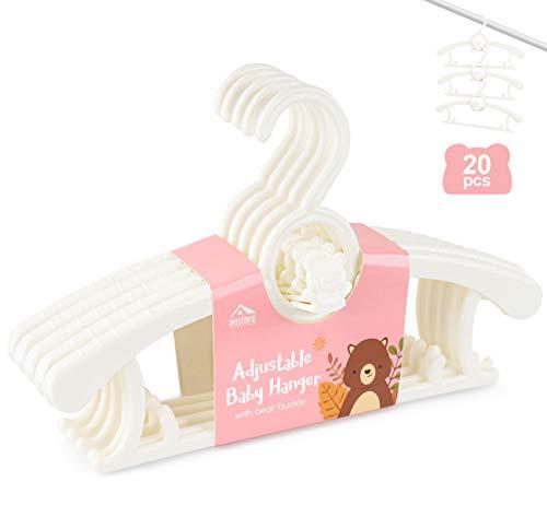 Anstore 20 Stück Mitwachsende Kinderkleiderbügel Platzsparend mit Stapelbaren Bärchen-Haken Rutschfeste Kleiderbügel für Babys und Kleinkinder, Weiß