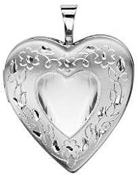 Helios Bijoux-Soporte para fotos con forma de corazón, diseño de colgante Cassolette cadena de 45 cm-plata maciza 4gr-Screw