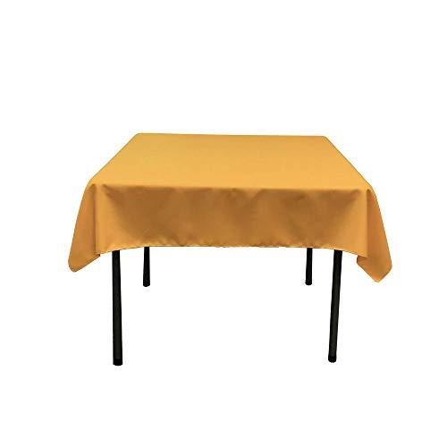 Morlan Linens Tischdecke für quadratische Tische, 100% Polyester, Restaurant-Qualität, ideal für Buffet-Tische, Partys, Urlaubsessen, Hochzeiten und mehr 62 x 62 Gold