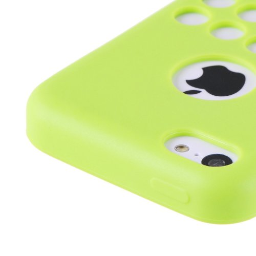 vau iPhone 5C Case - punched green - TPU Silikon-Case, Tasche für Apple iPhone 5C punched rose
