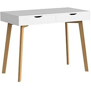 Homfa Schreibtisch mit 2 Schubladen 100x50x77cm(BxTxH) Computertisch Arbeitstisch Schminktisch ohne Spiegel Bürotisch…
