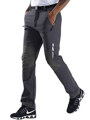 CARETOO Herren Wanderhose Funktionshose Verdickte Atmungsaktiv Outdoorhose Zip Off Sport Hose mit Gürtel Schnelltrocknend Winddicht Warm Trekkinghose -