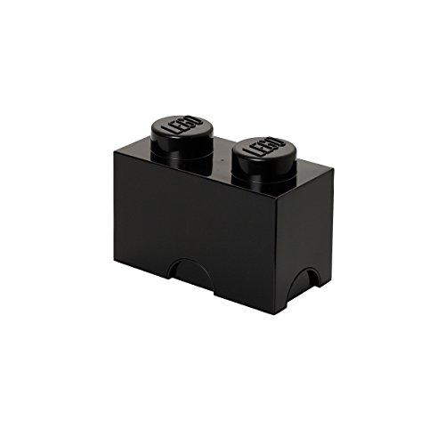 LEGO Contenedor para almacenaje con diseño de ladrillo 2, plástico, Negro, Medium