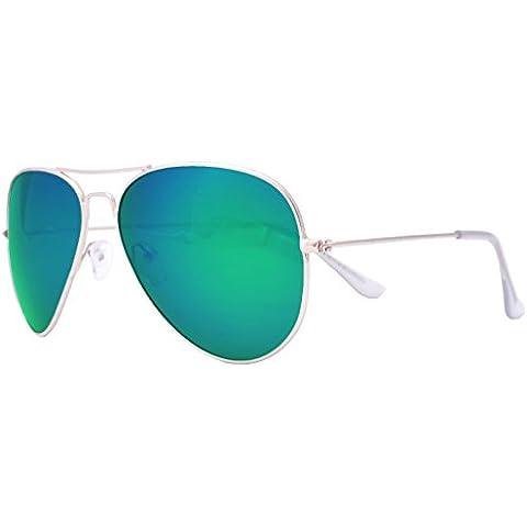 OceanGlasses - Banila aviator - gafas de sol metálicas - Montura : Dorada - Lentes : Verde Espejo (3701.1)