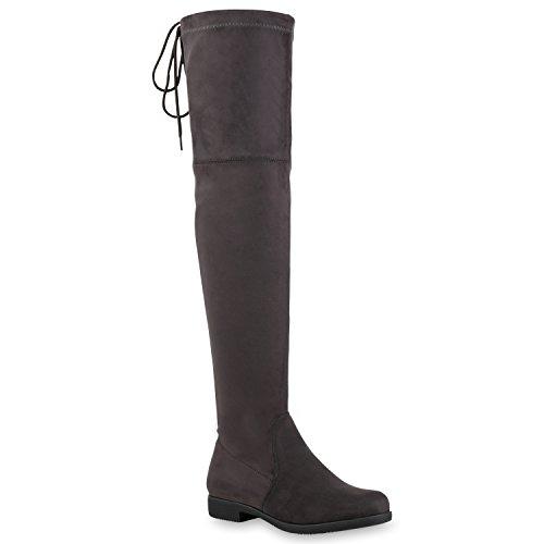 Bootsparadise Donna Stivali Overknees Foderati Flandell Grigio Velours