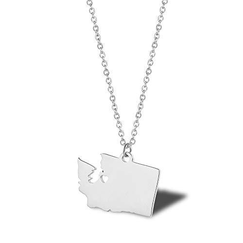 NSXLSCL Damenhalskette Einfache Washington State Map Form Silber Anhänger Mit Halskette Für Frauen Jeden Besonderen Moment Geschenk -