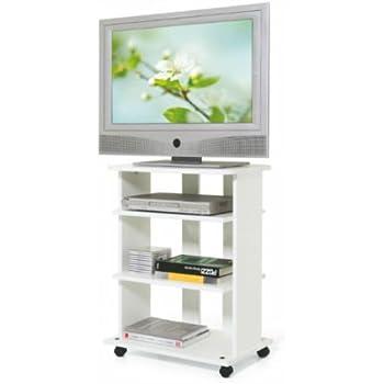 Mobile Carrello Porta TV In Legno Melaminico Elide Colore Bianco ...