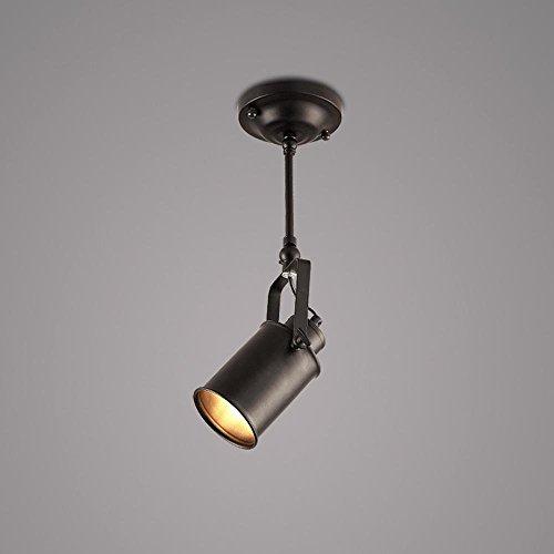 FGDJTYYJ Loft Retro LED Deckenleuchte Strahler Persönlichkeit kreativ Restaurant Flur Balkon einfach Mode E27 Metall schwarz Durchmesser 5,91 in * hoch 15,75 in [Energieklasse A +++] - Quadratmeter Kühlung