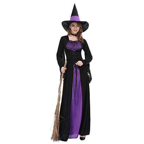 Luckiests Frauen-Schwarz-lila Hexe Kleid Zauberin Cosplay Erwachsene Halloween-Partei-Kostüm
