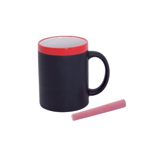 DISOK - Taza Pizarra Ceramica En Cajita Individual Rojo