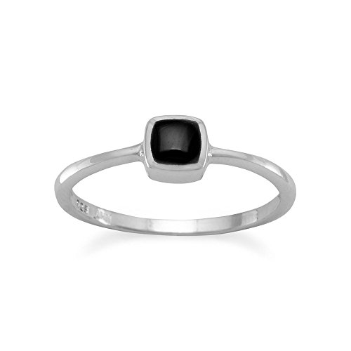 Sterling Silver Square Black Onyx Inlay - Black Onyx Ring Inlay