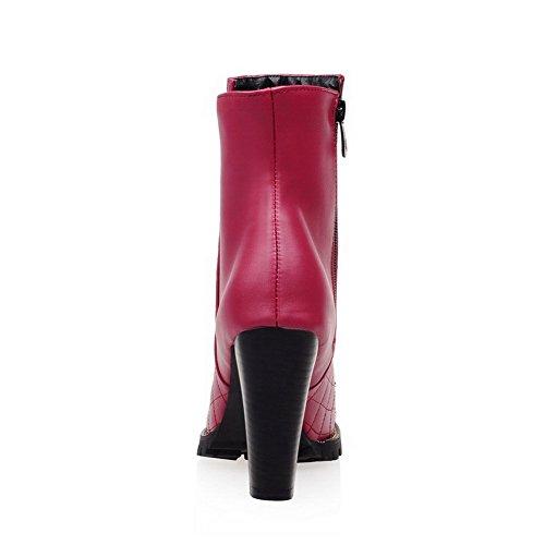AllhqFashion Damen Niedrig-Spitze Reißverschluss Blend-Materialien Hoher Absatz Stiefel Weinrot