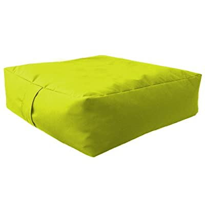 Large Bean Floor Garden Slab Cushion Stool Pouffe in Lime, Great for Indoors and Outdoors. Ideal for Relaxing and Occasional seating, Made from High Quality Water Resistant Material, Available in 10 Great Colours