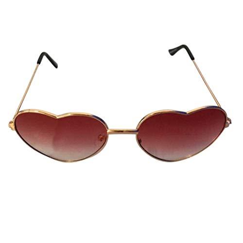 Hhyyq Persönlichkeit Bunte Brille Metall Herz Trends Männer Und Frauen Sonnenbrille Herzform Frau Frameless Transparente Flache Spiegel Designer Lässige Mode Unisex(F)