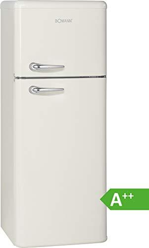 Bomann DTR 353 Doppeltür-Kühlschrank Retro-Style, EEK A++,208 L, Kühlen 157 L, Gefrieren 51 L, Höhe 143,5 cm, 172 kWh, Beige, 143, 5 cm