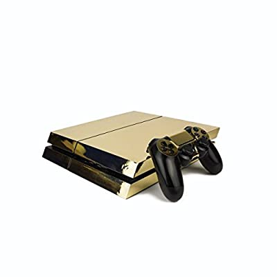 Premium PS4 PlayStation 4 Metallic Vinyl Wrap / Skin / Cover for PS4 Console and PS4 Controllers: Chrome Gold