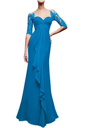 Victory Bridal Glamour Herzfoermig Ausschnitt Spitze Lang Abendkleider Ballkleider Brautmutterkleider Neu Blau