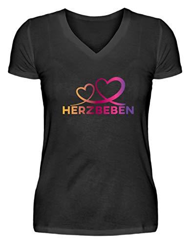 Shirtee Herzbeben - Bunte Herzen - Liebe Helene - V-Neck Damenshirt -L-Schwarz