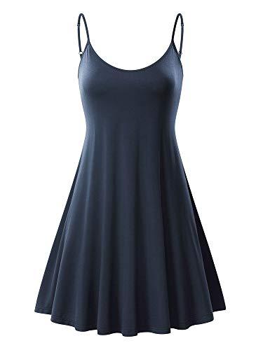 MSBASIC àrmelloses, verstellbares Riemchensommer Strand Swing Kleid für Damen 17148-3, Indigoblau, S (Verstellbare Kleid Kleine,)