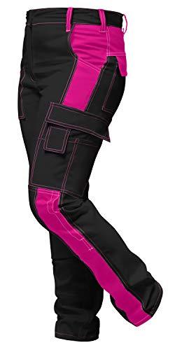 strongAnt® - Damen Arbeitshose komplett Stretch für Frauen Bundhose mit Kniepolstertaschen. Reißverschluss YKK + Metallknopf YKK - Made in EU - Schwarz-Pink 36