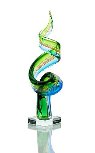Home-design-glas-skulptur (levandeo Designer Skulptur groß aus Glas - Design - farbliche Akzente in Blau und Grün - Sehr Hochwertig - Handarbeit - Exklusives Unikat Glasskulptur)