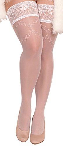 Unbekannt Ballerina Halterlose Damen-Strümpfe, weiß, Stockings große Größen XL XXL Hochzeit Grössen XL+
