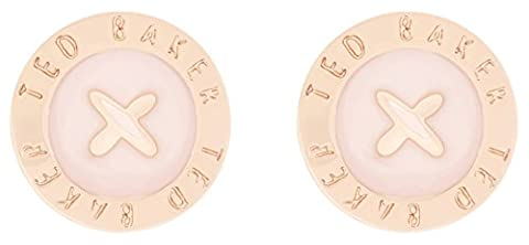 Ted Baker Eisley Rose Gold and Baby Pink Enamel Mini Button Earrings