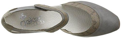Rieker 49780-41, Scarpe Col Tacco con Cinturino a T Donna Grigio (Whitegrey/Leinen)