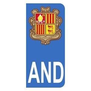 Autocollant AND avec blason de la principauté d'Andorre plaque immatriculation Auto (9,8 x 4,5 cm)