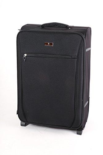 Weichgepäck Koffer, Serie Bristol, 2 leichtlauf Rollen, Erweiterbar, auch in Handgepäck grösse erhältlich (Schwarz, M)