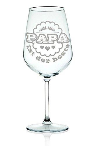 Leonardo Weinglas mit Gravur Papa ist der Beste Geschenk für Papa Geburtstags Geschenk Rotweinglas...