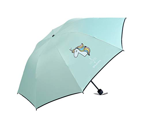 Paraguas Plegable - Mini Plegable Paraguas - con Estampado Unicornio - Resistente Compacto y Antiviento Paraguas, Anti-UV (Verde)