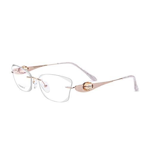 Yiph-Sunglass Sonnenbrillen Mode Hohe Qualität Leichter Reiner Titan Frameless Business Brille Kristall Dekoration Klare Linse Freizeit Brillen. (Farbe : White)