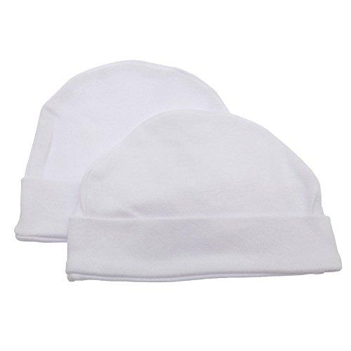 Baby Newborn 100% Cotton Allergy Free Hat Boy Girl Unisex Options (Pack of 2) (Newborn) (White)