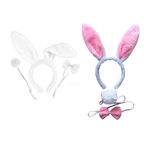 NUOBESTY Kaninchenhäschenohren Stirnband Fliege Schwanz Kostüm Set Party Cosplay 2 - Niedliche Häschen Kostüm Für Erwachsene