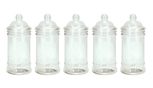 Britten & James® Packung mit 5 500 ml durchsichtigen Plastikgefäßen mit viktorianischen Deckeln. Behälter zur Aufbewahrung von Süßigkeiten, Geschenken usw. Ideal für Partys, Hochzeiten usw.