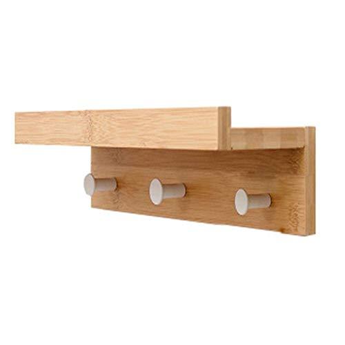 Margueras - 1 estante toallero perchero de pared (bambú con estante y ganchos), madera, 3K