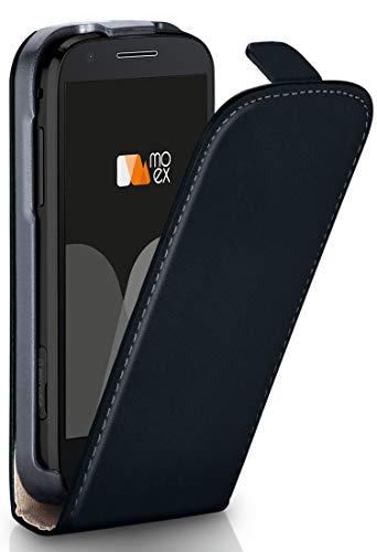 moex Lenovo Moto E3 | Hülle Schwarz 360° Klapp-Hülle Etui Thin Handytasche Dünn Handyhülle für Motorola Moto E3 Case Flip Cover Schutzhülle Kunst-Leder Tasche