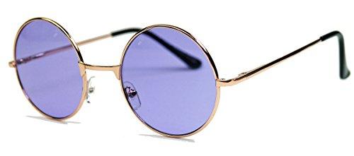 runde Retro Sonnenbrille im Lennon Stil Metallrahmen Nickelbrille Klassiker im 60er 70er Jahre Vintage Look - viele Farben LNS (Gold/Lila)