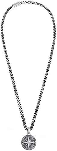 kuzzoi Herren Silber-Halskette mit Kompass Anhänger 34mm, 925 Sterling Silber oxidiert, Länge 50cm, Panzerkette Herrenkette mit Anhänger, sehr hochwertig und handgearbeitet, 0112671018_50