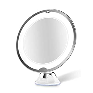 Keyobesa LED Vanity Mirror, 10 Times Magnification LED Makeup Mirror With Light Design with Strong Suction Cup LED Lighted Bathroom Mirror